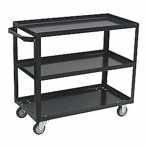Steel Flat Handle Utility Cart, 800 lb. Load Capacity, Number of Shelves: 3