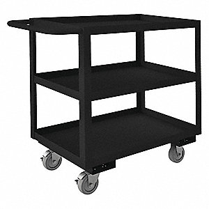 Steel Flat Handle Utility Cart, 1200 lb. Load Capacity, Number of Shelves: 3