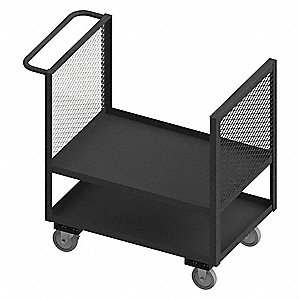 "42-1/2""L x 25""W x 40""H Gray Welded Steel 2 Sided Mesh Stock Cart, 1400 lb. Load Capacity, Number of"