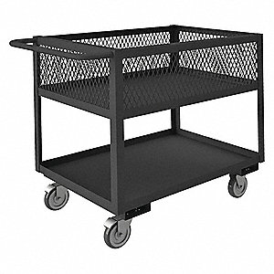 Steel Flat Handle Deep Shelf Utility Cart, 1400 lb. Load Capacity, Number of Shelves: 2