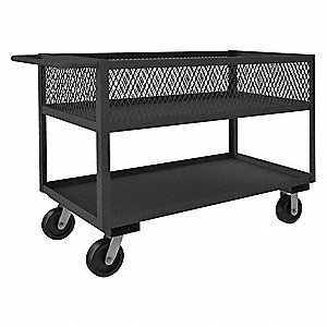 Steel Flat Handle Deep Shelf Utility Cart, 2400 lb. Load Capacity, Number of Shelves: 2