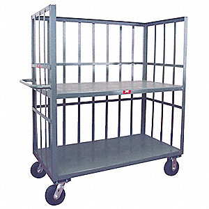 "54""L x 25""W x 57""H Gray Welded Steel 3 Sided Slat Stock Cart, 3000 lb. Load Capacity, Number of Shel"