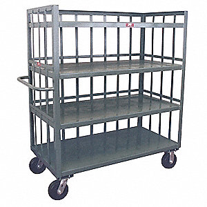 "78""L x 31""W x 57""H Gray Welded Steel 3 Sided Slat Stock Cart, 3000 lb. Load Capacity, Number of Shel"