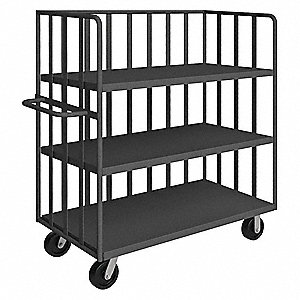 "68""L x 31""W x 57-1/2""H Gray Welded 3 Sided Slat Stock Cart, 3000 lb. Load Capacity, Number of Shelve"