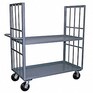 "66""L x 25""W x 57""H Gray Welded Steel 2 Sided Slat Stock Cart, 3000 lb. Load Capacity, Number of Shel"