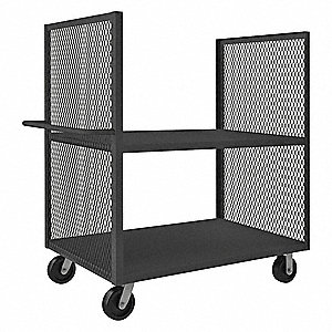 "54-1/2""L x 30-1/4""W x 56-7/16""H Gray Welded 2 Sided Mesh Stock Cart, 3000 lb. Load Capacity, Number"