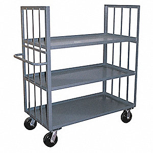"66""L x 31""W x 57""H Gray Welded Steel 2 Sided Slat Stock Cart, 3000 lb. Load Capacity, Number of Shel"