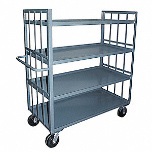 "78""L x 31""W x 57""H Gray Welded Steel Stock Truck, 3000 lb. Load Capacity, Number of Shelves: 4"