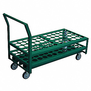 Welded Steel Medical Cylinder Cart, 1400 lb. Load Capacity, 2 Rigid, 2 Swivel Wheel Type
