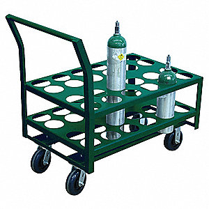 "38""H x 25""W x 42""D Welded Steel Medical Cylinder Cart, Cylinder Capacity: 24"