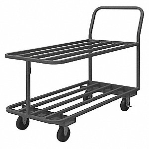 Steel Raised Handle Utility Cart, 1400 lb. Load Capacity, Number of Shelves: 2