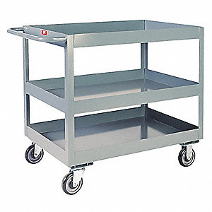 Steel Flat Handle Deep Shelf Utility Cart, 1400 lb. Load Capacity, Number of Shelves: 3