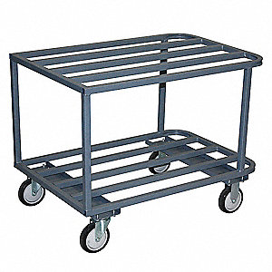 Welded Steel Utility Cart, 1400 lb. Load Capacity, Number of Shelves: 2