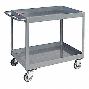 Lipped Steel Deep Shelf Utility Cart, 1400 lb. Load Capacity, Number of Shelves: 2