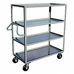 "54""L x 31""W x 60""H Gray Welded Steel Open Stock Cart, 3000 lb. Load Capacity, Number of Shelves: 4"