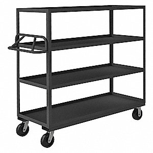 "66-1/4""L x 24-1/4""W x 60""H Gray Welded Open Stock Cart, 3000 lb. Load Capacity, Number of Shelves: 4"