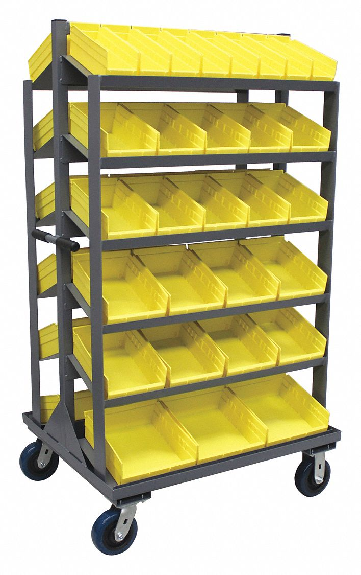 Steel Mobile Pick Rack with 58 Bins, 36 inW x 30 inD x 66 inH, Load Capacity: 2,000 lb, Gray