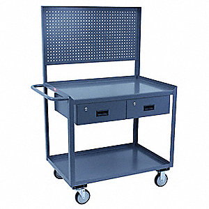 "Mobile Wrkstion,Steel,36""L,24""W,2 Shelf"