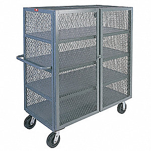 Mesh Security Cart, 3000 lb. Load Capacity, (2) Swivel, (2) Rigid Caster Type
