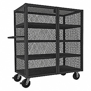 "66-1/2""L x 38-1/16""W x 56-7/16""H Gray Steel Mesh Security Cart, 3000 lb. Load Capacity"