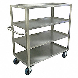 "54""L x 31""W x 53""H Stainless Welded Stainless Steel Stock Truck, 1800 lb. Load Capacity, Number of S"