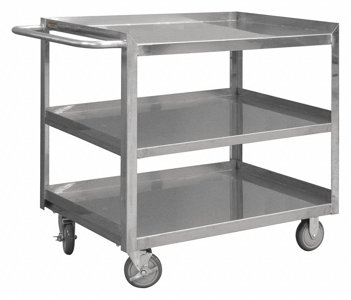 1200 lb Number of Shelves: 3 Load Capacity Stainless Steel Flat Handle Utility Cart