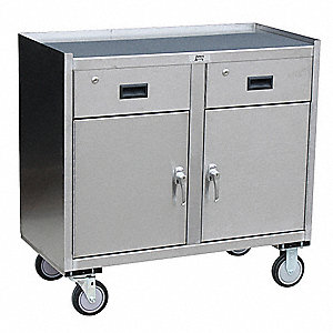 "Mobile Cabinet Workbench, Stainless Steel, 27"" Depth, 34"" Height, 37"" Width"