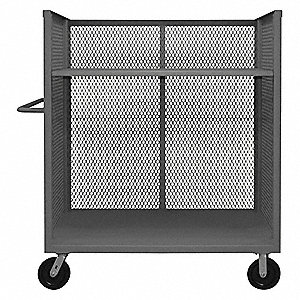 "54-1/2""L x 30-3/8""W x 56-7/16""H Gray Welded Steel 3 Sided Mesh Stock Cart, 3000 lb. Load Capacity, N"