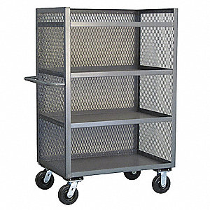 "54""L x 25""W x 57""H Gray Welded Steel 3 Sided Mesh Stock Cart, 3000 lb. Load Capacity, Number of Shel"