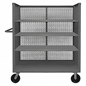 "66-1/2""L x 30-3/8""W x 56-7/16""H Gray Welded Steel 3 Sided Mesh Stock Cart, 3000 lb. Load Capacity, N"