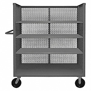 "66-1/2""L x 24-3/8""W x 56-7/16""H Gray Welded Steel 3 Sided Mesh Stock Cart, 3000 lb. Load Capacity, N"
