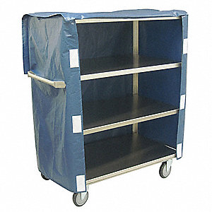 Linen Cart, 600 lb. Load Capacity, (4) Swivel Caster Type, Welded Stainless Steel