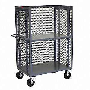 "54""L x 31""W x 57""H Gray Welded Steel 3 Sided Mesh Stock Cart, 3000 lb. Load Capacity, Number of Shel"