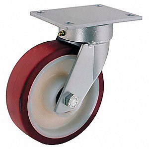 "8"" Light-Medium Duty Kingpinless Swivel Plate Caster, 880 lb. Load Rating"
