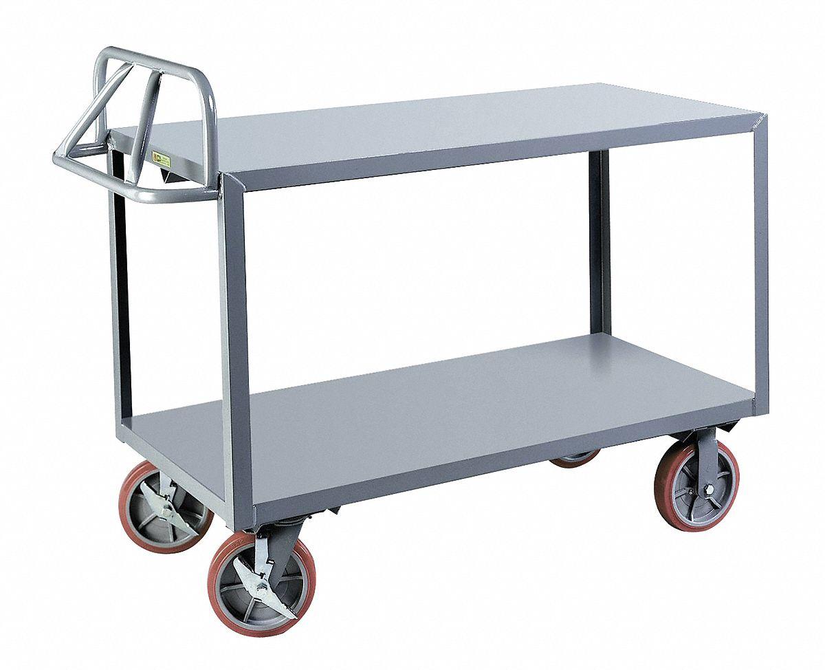 GRAINGER APPROVED Steel Raised Handle Utility Cart, 3600 lb. Load ...