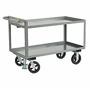 "41-1/2""L x 24""W x 36""H Gray Steel Welded Utility Cart with Floor Lock, 2400 lb. Load Capacity, Numbe"