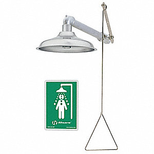 "Emergency Shower, Wall Mount, Stainless Steel, 11"" Head Dia."