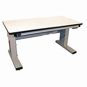 "Electric Workbench, Laminate, 30"" Depth, 30-1/2"" to 46-1/2"" Height, 60"" Width, 1000 lb. Load Capacit"