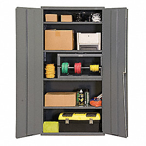 "Storage Cabinet, Gray, 72"" Overall Height, Assembled"