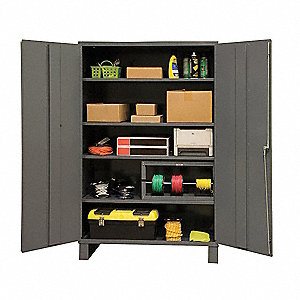 "Industrial Storage Cabinet, Gray, 84"" H X 60"" W X 24"" D, Assembled"