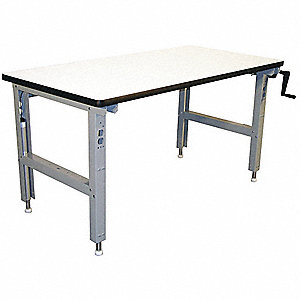 "Hand Crank Workbench, ESD Laminate, 30"" Depth, 30"" to 42"" Height, 72"" Width, 750 lb. Load Capacity"