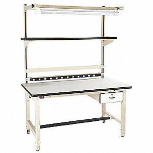 "Bolted Workstation, ESD Laminate, 30"" Depth, 30"" to 36"" Height, 72"" Width, 5000 lb. Load Capacity"