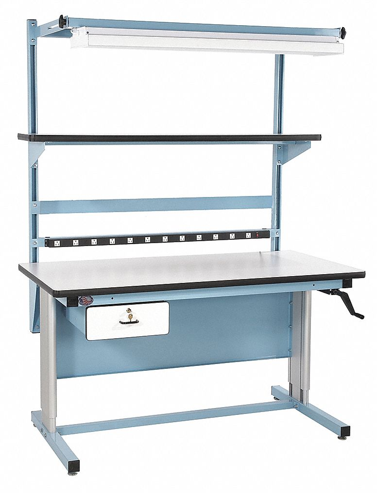 Hand Crank Workstation, Laminate, 30 in Depth, 30 in to 42 in Height, 60 in Width, 330 lb Load Capac
