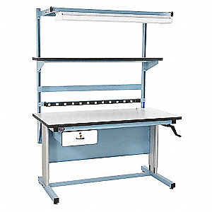 "Hand Crank Workstation, Laminate, 30"" Depth, 30"" to 42"" Height, 60"" Width, 330 lb. Load Capacity"