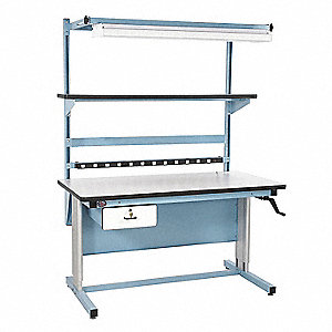 "Hand Crank Workstation, ESD Laminate, 30"" Depth, 30"" to 42"" Height, 72"" Width, 330 lb. Load Capacity"