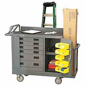 Gray Mobile Workbench, 1200 lb. Load Capacity, (2) Rigid, (2) Swivel Caster Type