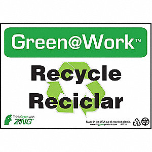 SIGN GREEN AT WORK RCYCL SPNSH 7X10