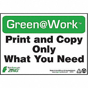 SIGN GREEN AT WORK PRINT COPY 7X10