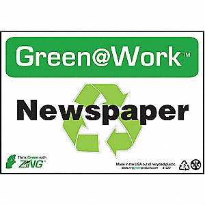 SIGN GREEN AT WORK NEWSPAPER 7X10