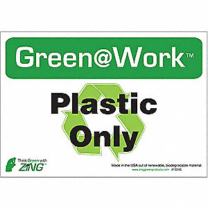 RECYCLE SIGN PLASTIC ONLY 5/PK